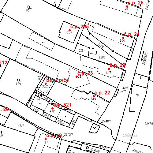 Katastrální mapa Stavební objekt Pozlovice 23, Pozlovice