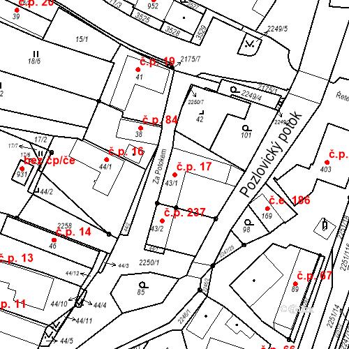 Katastrální mapa Stavební objekt Pozlovice 17, Pozlovice