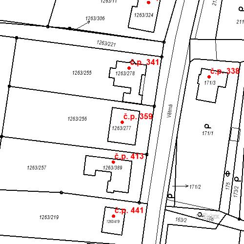 Katastrální mapa Stavební objekt Hvozdná 359, Hvozdná