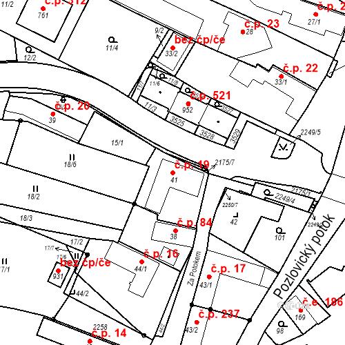 Katastrální mapa Stavební objekt Pozlovice 19, Pozlovice