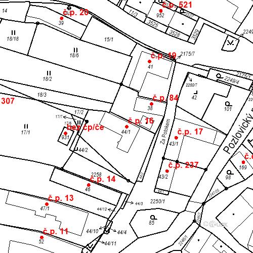 Katastrální mapa Stavební objekt Pozlovice 16, Pozlovice