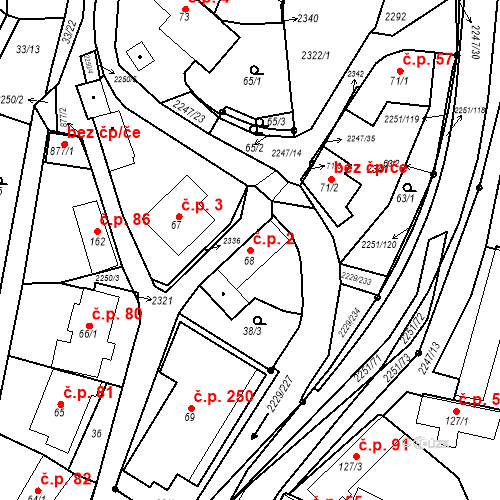 Katastrální mapa Stavební objekt Pozlovice 2, Pozlovice