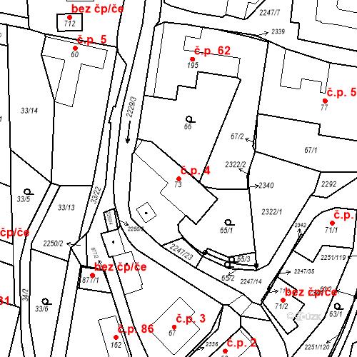 Katastrální mapa Stavební objekt Pozlovice 4, Pozlovice