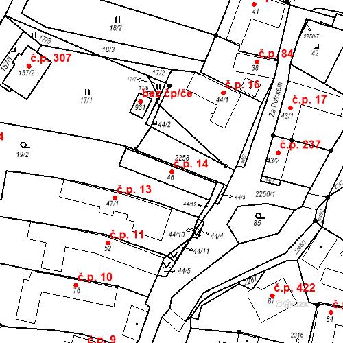 Katastrální mapa Stavební objekt Pozlovice 14, Pozlovice