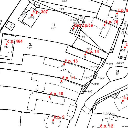 Katastrální mapa Stavební objekt Pozlovice 13, Pozlovice