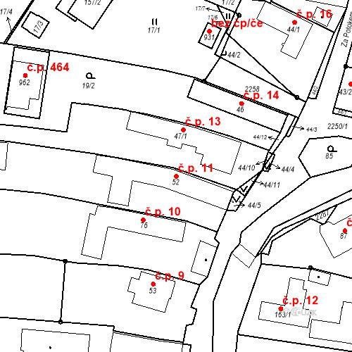 Katastrální mapa Stavební objekt Pozlovice 11, Pozlovice