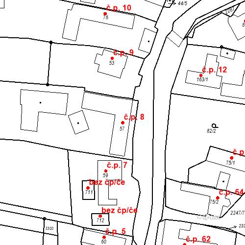 Katastrální mapa Stavební objekt Pozlovice 8, Pozlovice