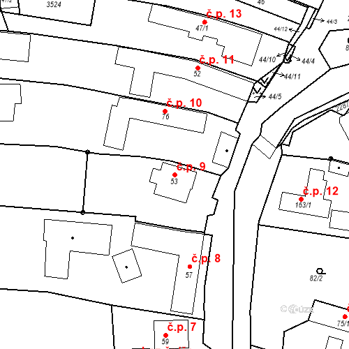 Katastrální mapa Stavební objekt Pozlovice 9, Pozlovice