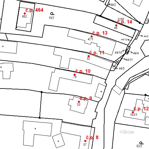 Katastrální mapa Stavební objekt Pozlovice 10, Pozlovice