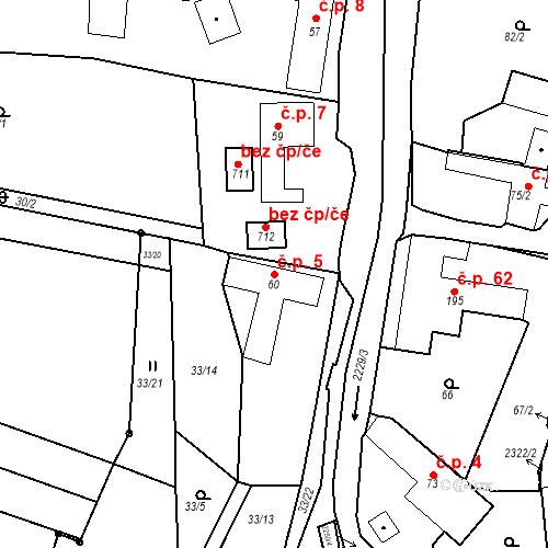 Katastrální mapa Stavební objekt Pozlovice 5, Pozlovice