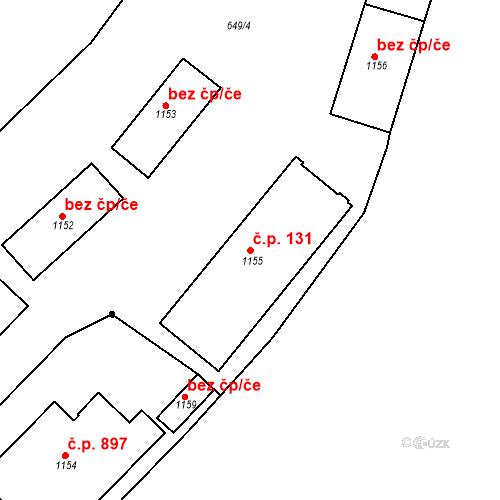 Katastrální mapa Stavební objekt Luhačovice 131, Luhačovice