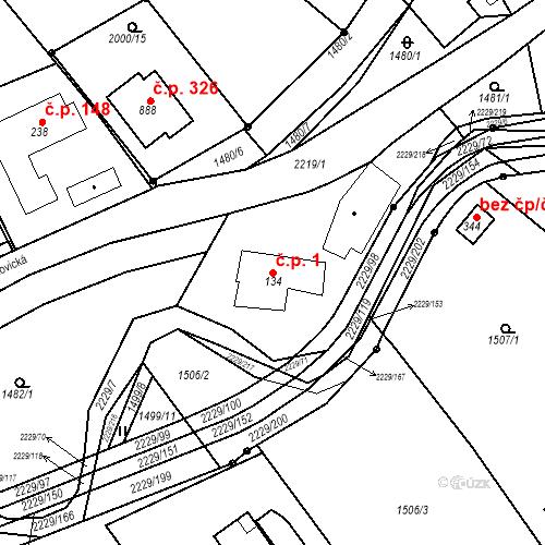 Katastrální mapa Stavební objekt Pozlovice 1, Pozlovice