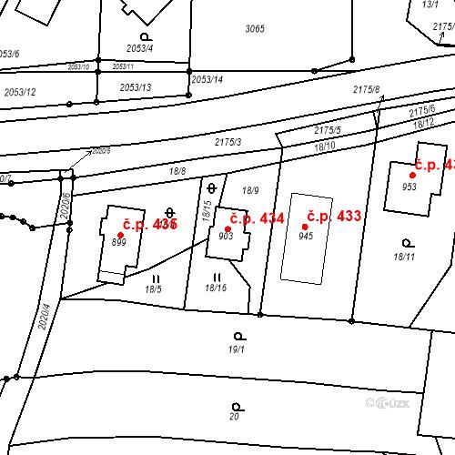 Katastrální mapa Stavební objekt Pozlovice 434, Pozlovice