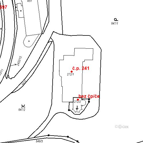 Katastrální mapa Stavební objekt Luhačovice 241, Luhačovice