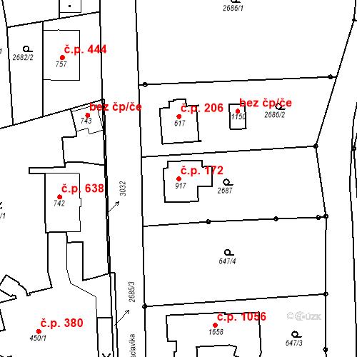 Katastrální mapa Stavební objekt Luhačovice 172, Luhačovice