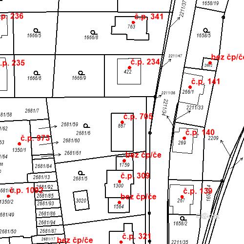 Katastrální mapa Stavební objekt Luhačovice 705, Luhačovice