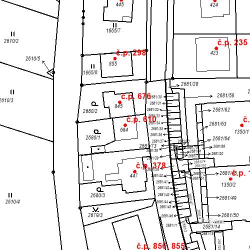 Katastrální mapa Stavební objekt Luhačovice 610, Luhačovice