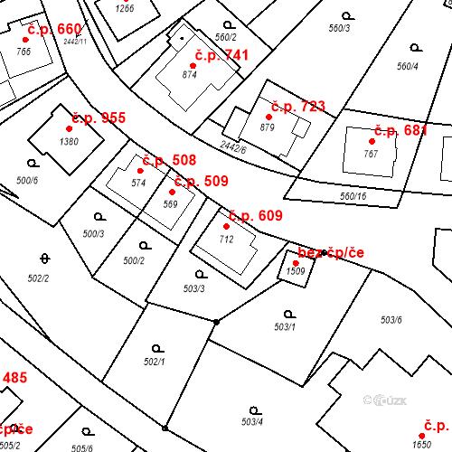 Katastrální mapa Stavební objekt Luhačovice 609, Luhačovice