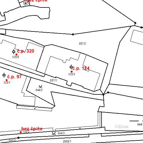 Katastrální mapa Stavební objekt Luhačovice 124, Luhačovice