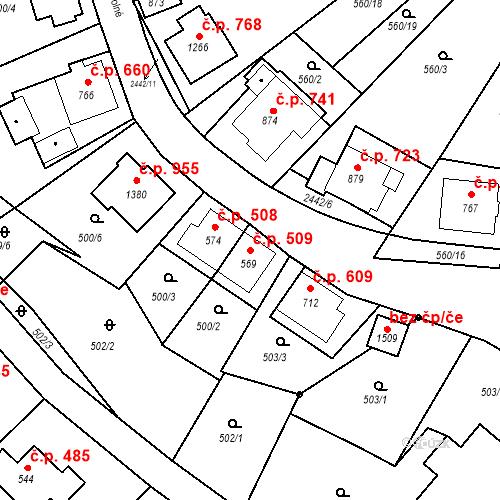 Katastrální mapa Stavební objekt Luhačovice 509, Luhačovice