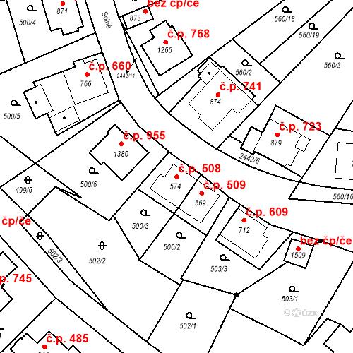 Katastrální mapa Stavební objekt Luhačovice 508, Luhačovice