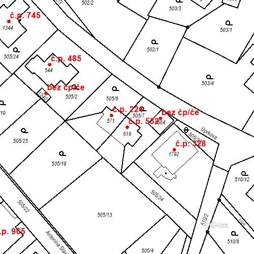 Katastrální mapa Stavební objekt Luhačovice 532, Luhačovice