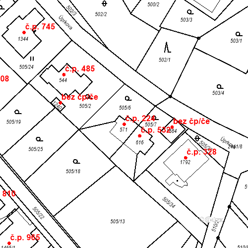 Katastrální mapa Stavební objekt Luhačovice 224, Luhačovice