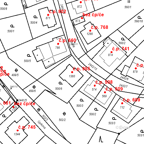 Katastrální mapa Stavební objekt Luhačovice 955, Luhačovice