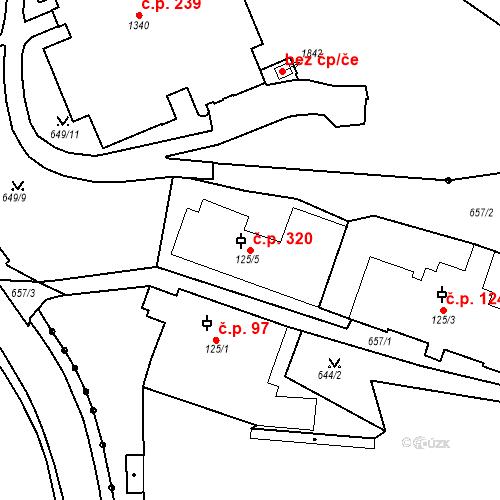 Katastrální mapa Stavební objekt Luhačovice 320, Luhačovice