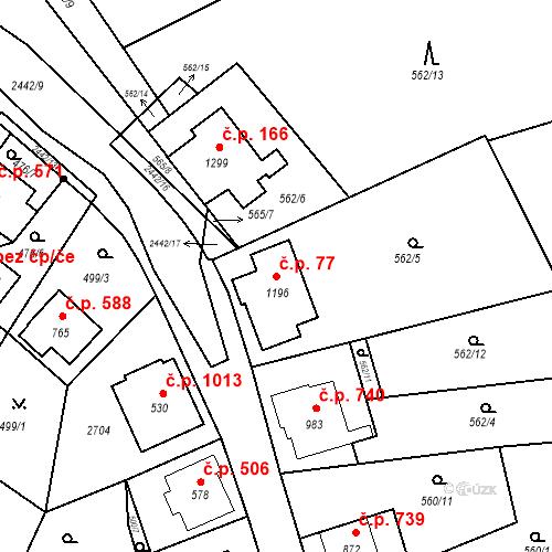 Katastrální mapa Stavební objekt Luhačovice 77, Luhačovice