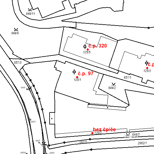Katastrální mapa Stavební objekt Luhačovice 97, Luhačovice