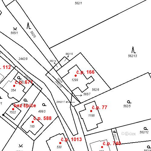 Katastrální mapa Stavební objekt Luhačovice 166, Luhačovice