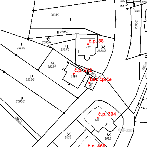 Katastrální mapa Stavební objekt Luhačovice 212, Luhačovice