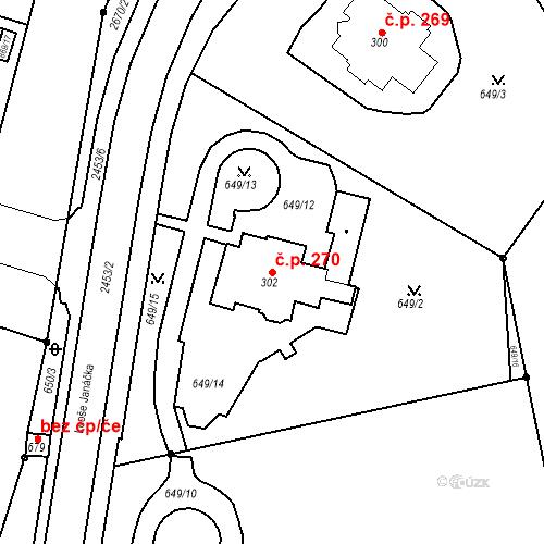 Katastrální mapa Stavební objekt Luhačovice 270, Luhačovice