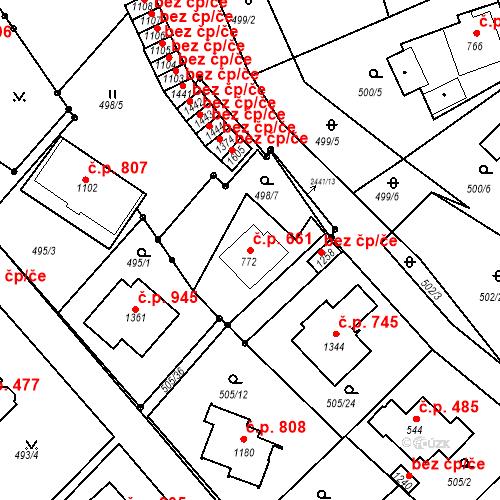 Katastrální mapa Stavební objekt Luhačovice 661, Luhačovice