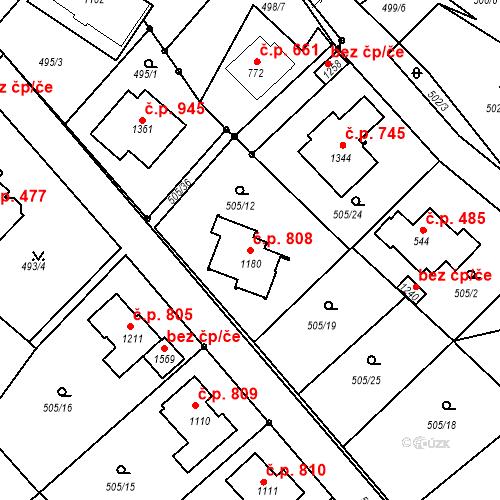 Katastrální mapa Stavební objekt Luhačovice 808, Luhačovice