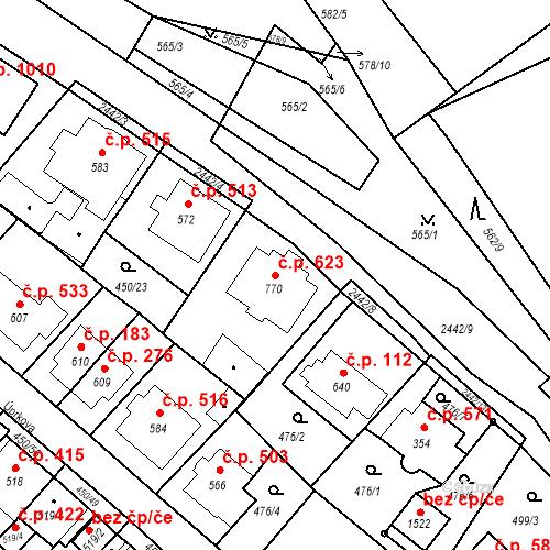 Katastrální mapa Stavební objekt Luhačovice 623, Luhačovice