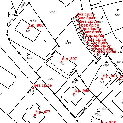 Katastrální mapa Stavební objekt Luhačovice 807, Luhačovice