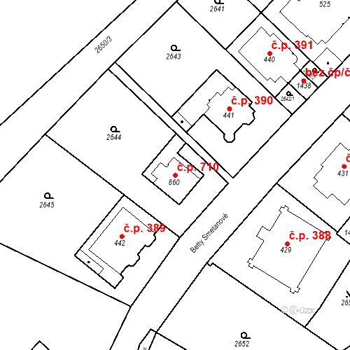 Katastrální mapa Stavební objekt Luhačovice 710, Luhačovice