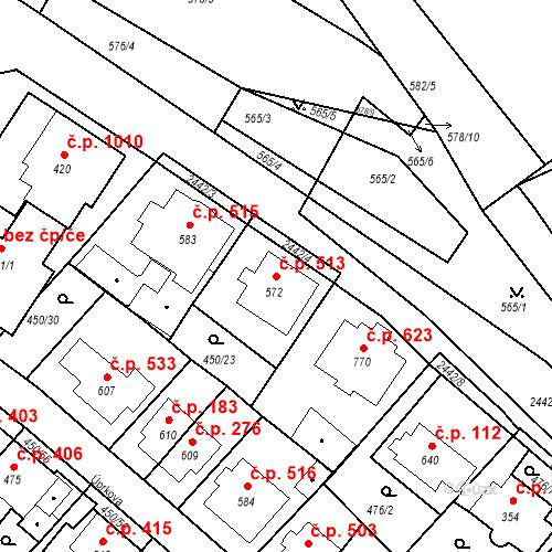 Katastrální mapa Stavební objekt Luhačovice 513, Luhačovice