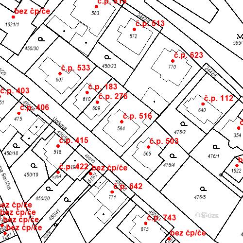 Katastrální mapa Stavební objekt Luhačovice 516, Luhačovice