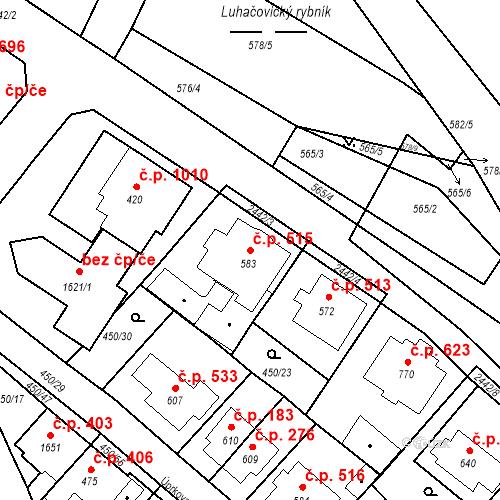 Katastrální mapa Stavební objekt Luhačovice 515, Luhačovice