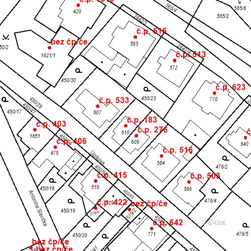 Katastrální mapa Stavební objekt Luhačovice 183, Luhačovice