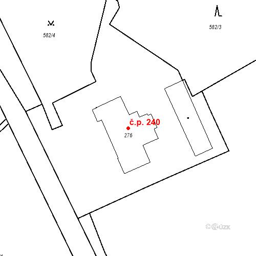 Katastrální mapa Stavební objekt Luhačovice 240, Luhačovice