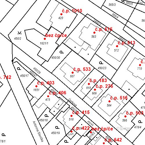 Katastrální mapa Stavební objekt Luhačovice 533, Luhačovice
