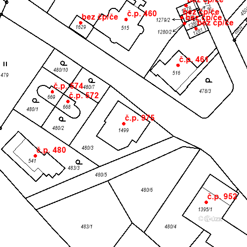Katastrální mapa Stavební objekt Luhačovice 975, Luhačovice