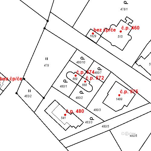 Katastrální mapa Stavební objekt Luhačovice 574, Luhačovice