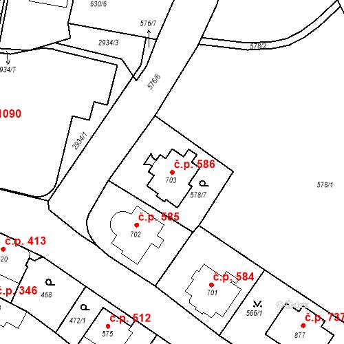 Katastrální mapa Stavební objekt Luhačovice 586, Luhačovice