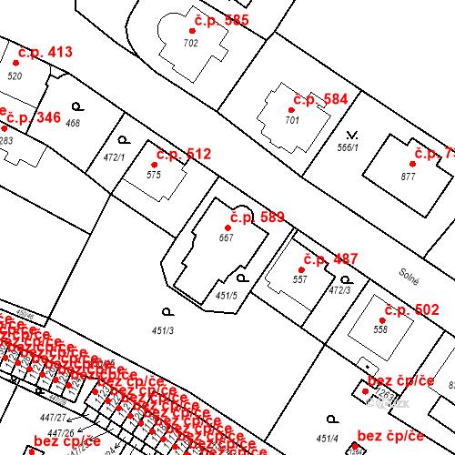Katastrální mapa Stavební objekt Luhačovice 589, Luhačovice