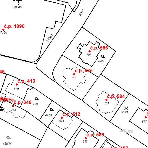 Katastrální mapa Stavební objekt Luhačovice 585, Luhačovice